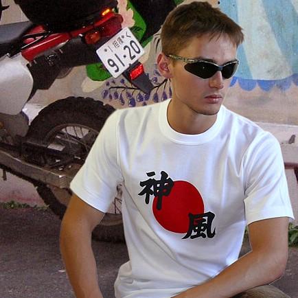 японские Футболки.  TS-007 камикадзе, мужская Футболка с иероглифами.