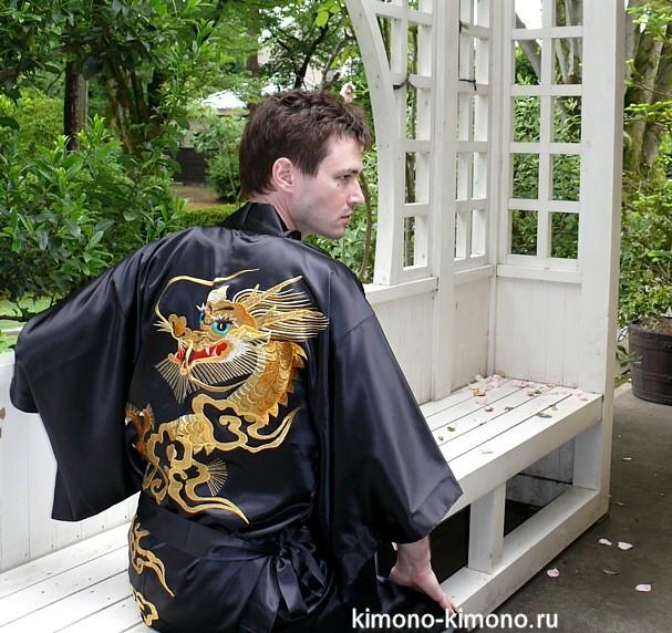 e36584b5fd2e9 Мужское шелковое японское кимоно с вышивкой. Мужские халаты-кимоно ...