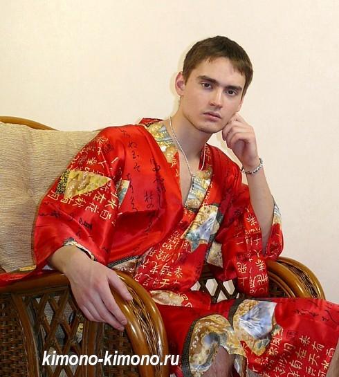 15395b410ce1e Японский мужской шелковый короткий халат - кимоно Никко. Мужские ...